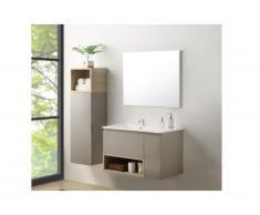 Set bagno Laccato Tortora KLADE: mobile sotto lavabo + lavabo + specchio + colonna