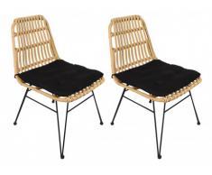 Lotto di 2 sedie da giardino NOSARA in resina intrecciata - Seduta nera