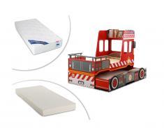 Letto con letto singolo estraibile 2x90x190cm in MDF rosso - SAPEUR + 2 materassi inclusi
