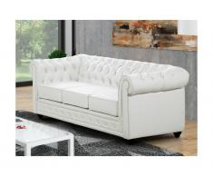 Divano a 3 posti in similpelle CHESTERFIELD - Bianco