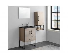 Set bagno PHENA: mobile sotto lavabo + lavabo + specchio + mobile alto effetto legno