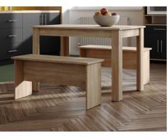 Set tavolo + 2 panchette BASTIEN - Colore quercia