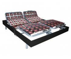 Rete relax doghe e 2x65 sospensioni deco in legno nero di DREAMEA - 2 x 80 x 200 cm - Motori OKIN