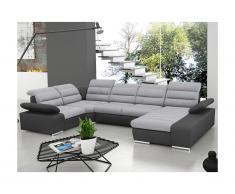 Divano letto angolare panoramico in tessuto e similpelle BOILEAU - Bicolore grigio/antracite - Angolo a destra