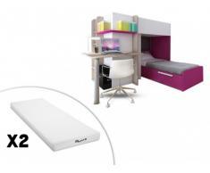 Letto a castello SAMUEL - 2 x 90 x 190 cm - Scrivania integrata - Pino bianco e rosa + 2 materassi STELO KIDS 90x190