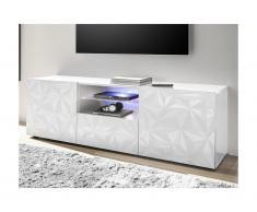 Mobile TV con LED e 2 ante e 1 cassetto Bianco laccato - ERIS