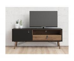 Mobile TV 1 anta e 1 cassetto Colore: Noce e Antracite - FURESO