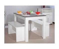 Set tavolo + 2 panchette ripiano effetto cemento Bianco - BASTIEN