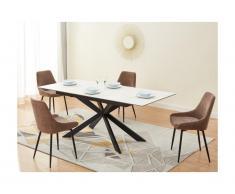 Tavolo da pranzo allungabile da 6 a 8 coperti Ceramica e Vetro temperato Effetto marmo Bianco - ALBINA