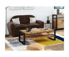 Tavolino rettangolare con doppio ripiano in Legno di mango e metallo - HARLEM