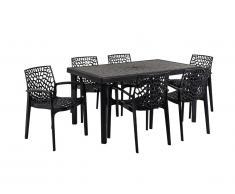 Sala da pranzo per giardino DIADEME - Tavolo + 6 poltrone - Polipropilene - Grigio antracite
