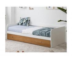 Letto divano con letto estraibile 2 x 90 x 190 cm in MDF Bianco e ciliegio - JULIETTE