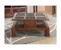 Tavolino quadrato con cassetti Teak massello - BALI II