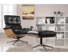 Poltrona lounge girevole in pelle superiore ARCHIBALD - Nero