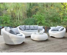 Salotto da giardino WHITEHEAVEN bianco 3+1+1+tavolino