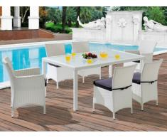 Sala da pranzo da giardino ALANDA in resina intrecciata bianca/grigia: tavolo, 2 poltrone, 4 sedie