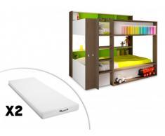 Letto a castello DORIAN - 2x90x190 cm - Scaffali - Struttura verde + 2 materassi STELO KIDS 90x190