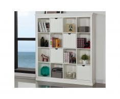 Libreria quadrata GUERANDE - Legno di pino bianco