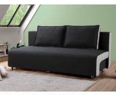 Divano letto clic-clac in tessuto VICKY - Bicolore seduta Antracite/ Lati grigio chiaro