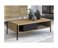Tavolino con cassetto e 2 nicchie Quercia e nero stile industriale - MEMPHIS