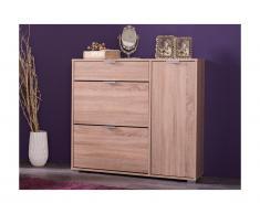 Scarpiera ARIETTA - 2 scomparti, 1 anta e 1 cassetto - Colore quercia