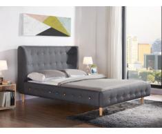 Letto SERTI - 140x190 cm - Legno e tessuto - grigio
