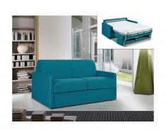 Divano-letto a ribalta 2 posti in tessuto CALIFE - Turchese - Letto 120 cm - Materasso 14 cm-