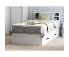 Letto singolo con cassetti e scomparti Bianco 90 x 190 cm - BORIS