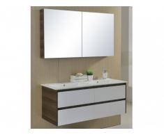 Set mobili bagno ADELE con doppio lavabo in MDF, mobile basso e specchio