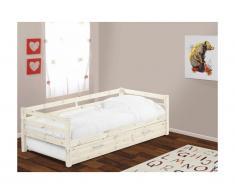Letto singolo con letto estraibile 90 x 190 cm in Pino massello sbiancato - AEDAN