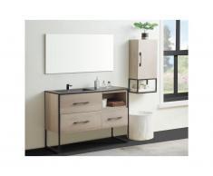 Set bagno SELANE: mobile sotto lavabo + lavabo + specchio + colonna effetto legno
