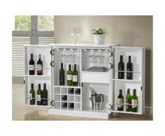 Mobile bar GORDON - Hevea e MDF - Bianco