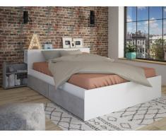 Letto matrimoniale alla francese con cassetti e comodini integrati 140 x 190 cm Colore: Bianco e calcestruzzo - FRANK