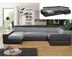 Divano letto angolare panoramico in tessuto e similpelle VALMY - Grigio chiaro/Nero - Angolo a sinistra