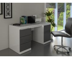 Scrivania LOIC - MDF laccato bianco & grigio - 1 anta & 3 cassetti - LED
