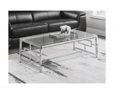 Tavolino Vetro temperato e acciaio Cromato - CLOTILDE