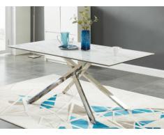 Tavolo da pranzo ELMIRA - 6 coperti - Ceramica e metallo