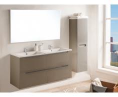 Set SELITA - mobile bagno con doppio lavabo e specchio - Laccato Tortora