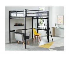 Letto a soppalco con spazio scrivania 140 x 190 cm Antracite - CASUAL II