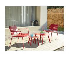 Salotto da giardino in metallo: 2 poltrone basse impilabili e tavoli a scomparsa Rosso - MIRMANDE