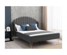 Letto con testata letto ondulata 160 x 200 cm Velluto Grigio - EMMA