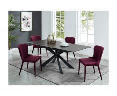 Tavolo da pranzo allungabile da 6 a 8 coperti in Ceramica e Vetro temperato Antracite - ALBINA