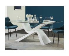 Tavolo da pranzo 6 coperti in Vetro temperato e MDF bianco laccato - TEMPO