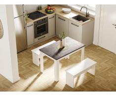 Tavolo da pranzo 4 posti Bianco, ripiano effetto cemento - CASSY II