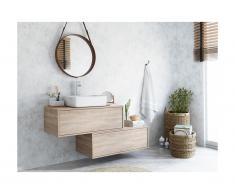 Mobili sospesi per bagno con lavabo semplice e due cassetti Rovere - TEANA