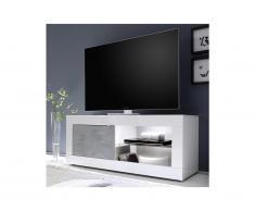Mobile TV con LED e 1 Anta Bianco laccato e calcestruzzo - COMETE