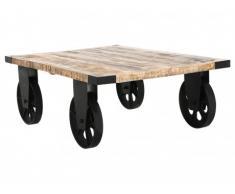 Tavolino industriale su ruote CHELSEA - Legno di mango massello e metallo