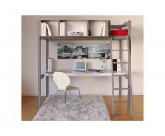 Letto a soppalco GIACOMO - 90 x 190 cm - Scrivania e spazi integrati per riporre i propri oggetti - Abete grigio