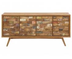 Credenza BELANDRE II - 3 ante e 4 cassetti - Teak massello e legno riciclato