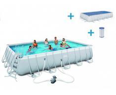 Pacchetto piscina ANTIGUA II 671 x 366 cm + rivestimento isotermico e cartuccia per filtro